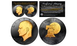 1976 BLACK RUTHENIUM Bicentennial Eisenhower Dollar w/ 24K GOLD features... - $22.72