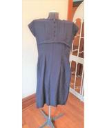 Navy blue dress vintage 1950's tailored back zipper short sleeved - $70.00