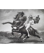 NUDE Male Figure Automedon Horses of Achilles - 1888 Fine Antique Print - $39.60