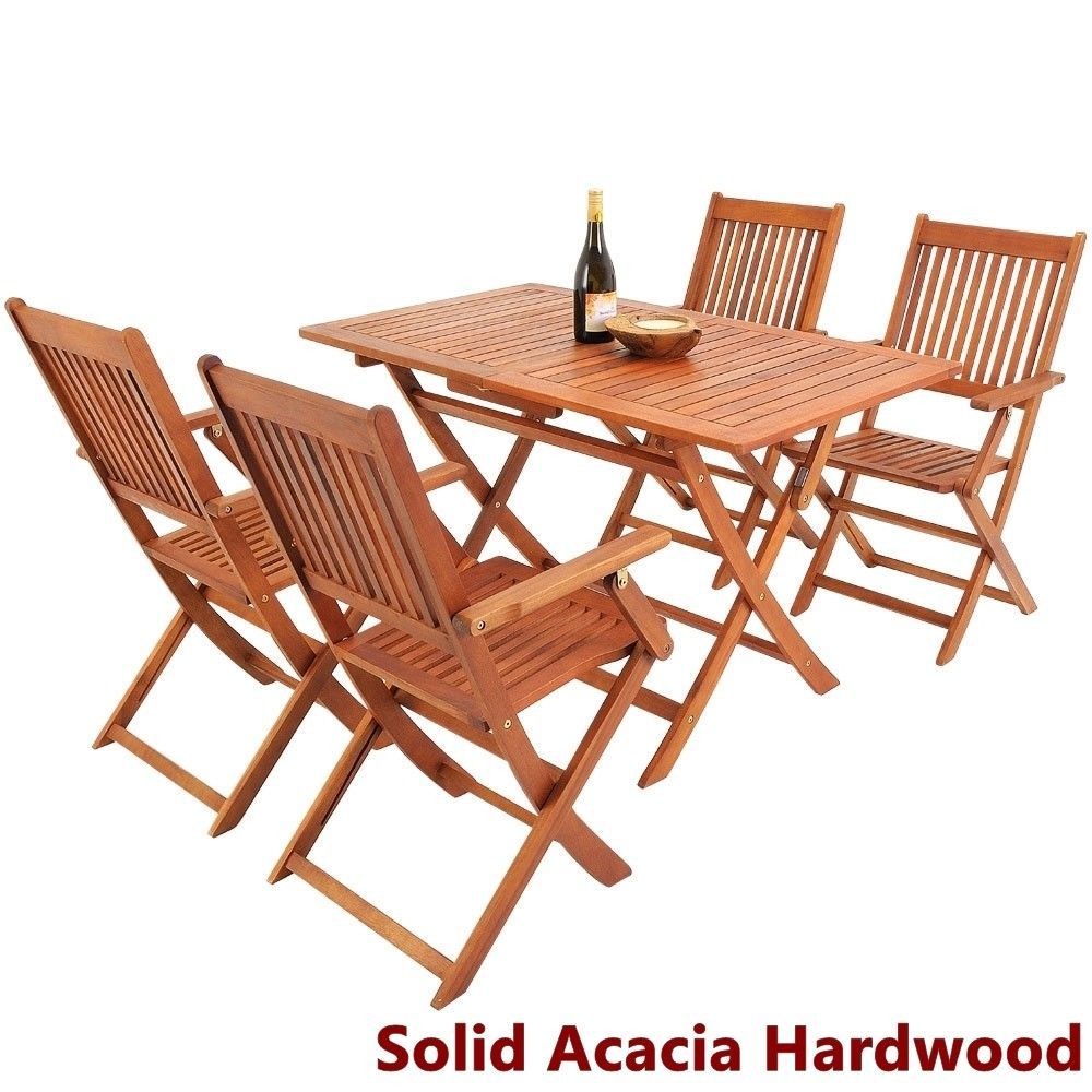 Garden Hardwood Dining Table Chairs Set Folding Outdoor Easy Storage Furniture image 7