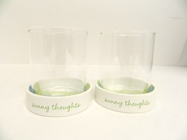 """(2) HALLMARK VOTIVE CANDLE HOLDERS """"SUNNY THOUGHTS"""" - $11.75"""