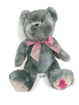 Walmart Teddy Bear Gray Pink Bow Pink Heart Valentine Day 16 inch - $14.84