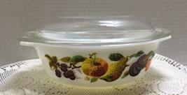 Vintage JAJ Pyrex Kent Orchard Design Casserole Dish Autumn Crown Pyrex ... - $12.05