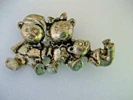 Rhinestone Bear Family Pin Brooch Silvertone Metal RS Eyes Buttons ADORABLE - $14.84