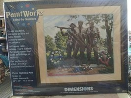 Dimensions  Paint Works  THREE FIGHTING MEN Memorial Paint By Number 18 ... - $39.18
