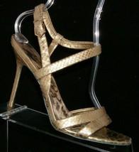 Sam Edelman 'Abbott' gold leather snake print ankle strap sandal heels 9.5M - $46.39