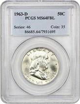 1963-D 50c PCGS MS64 FBL - Franklin Half Dollar - $48.50