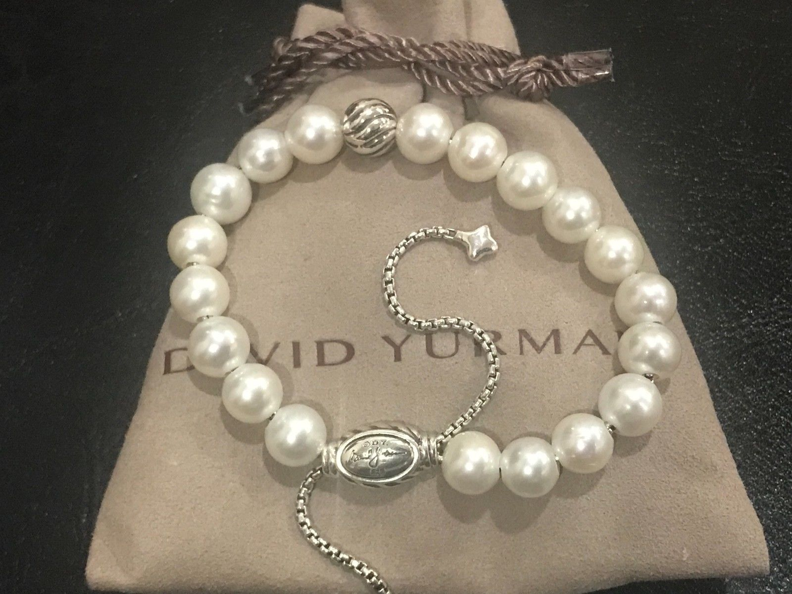 "David Yurman 8"" 8mm Spiritual Beads Bracelet Sterling Silver 925 and PEARLS"