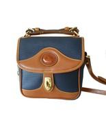 Dooney & Bourke Carrier Crossbody Shoulder Bag Navy Blue British Tan AWL... - $150.00