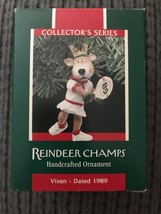 1989 Hallmark Keepsake Ornament Vixen Tennis Reindeer Champ #4 in Series - $1.95