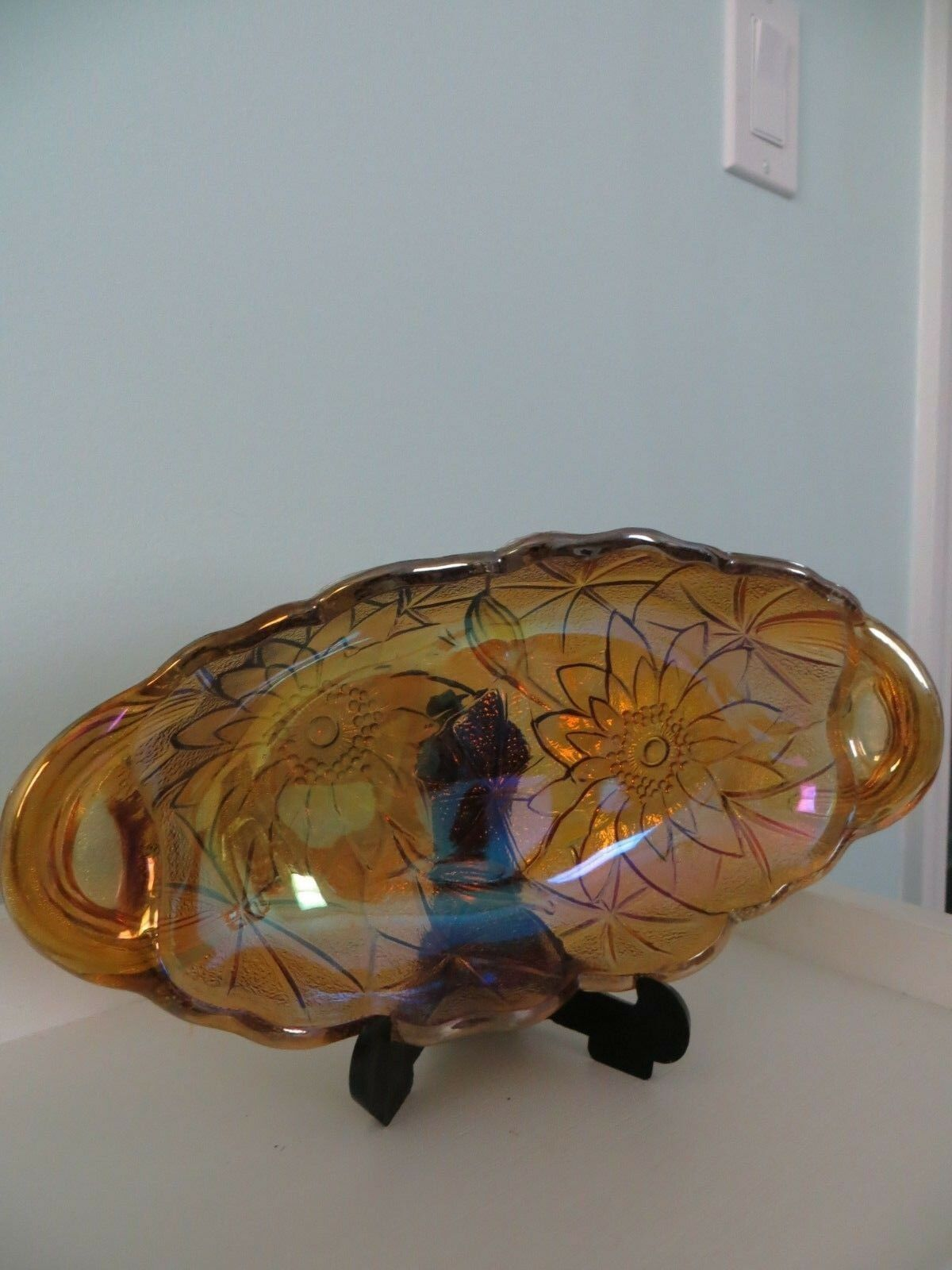 Vintage Indiana Carnival Glass Amber Iridescent Relish Dish
