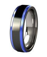 Tungsten Carbide Two Tone Wedding Band Ring - Blue Black Color - Price f... - $49.99