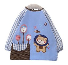 Corduroy Waterproof Baby Bib Overclothes Kids Painting Smock BLUE, 1.5-2 Years