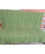 HAND KNITTED SAXON BRAID AND CABLE AFGHAN 48 X 43 - $95.99