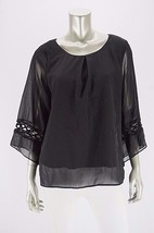 AGB Black Chiffon Angled Crochet Sleeve Pleat Front Dressy Blouse NWOT M - $11.75
