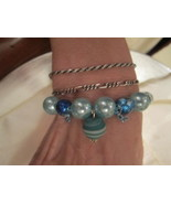 BEADED STRETCH BRACELET - Various Shades of Blue and Sea Foam Green, Shi... - $10.75
