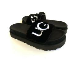 Ugg Laton Slide Black Ugg Embroidery Logo Fur Sandal Us 9.5 / Eu 40.5 / Uk 7.5 - $98.18