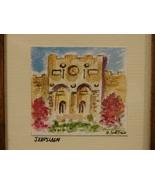 Original Miniature Watercolor Jerusalem Golden  Gate  Framed, Matted, Si... - $4.99