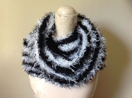 Black White Striped Magic Fuzzy Circle Scarf Can Be Worn Multiple Ways NO TAGS image 4