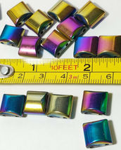 MULTI COLOR RAINBOW SQUARE HEMATITE BEADS 2 HOLE SPACER BEAD 10X10MM 10 PCS image 3