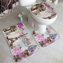 Mat Bath Bathroom Toilet Rug 3pcs Non Slip Cover Set Pedestal Lid Mats E... - $18.99
