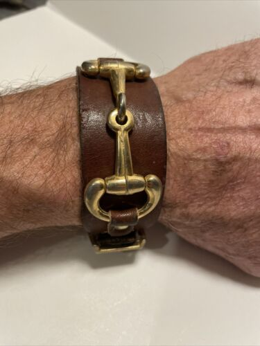 Primary image for Vintage Leather Watch Band with Brass Plate Buckle & Unique Chain Like Accent