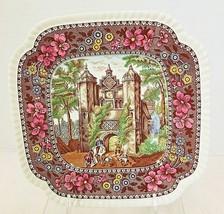 "Spode Copeland Delft Tower Pattern Square Salad Plate 8"" Herstmonceux C... - $39.11"