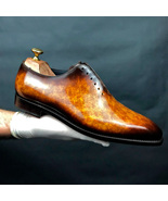 Handmade Whole Cut Unique Patina Finish leather Shoes Custom Made Shoes ... - $209.99+