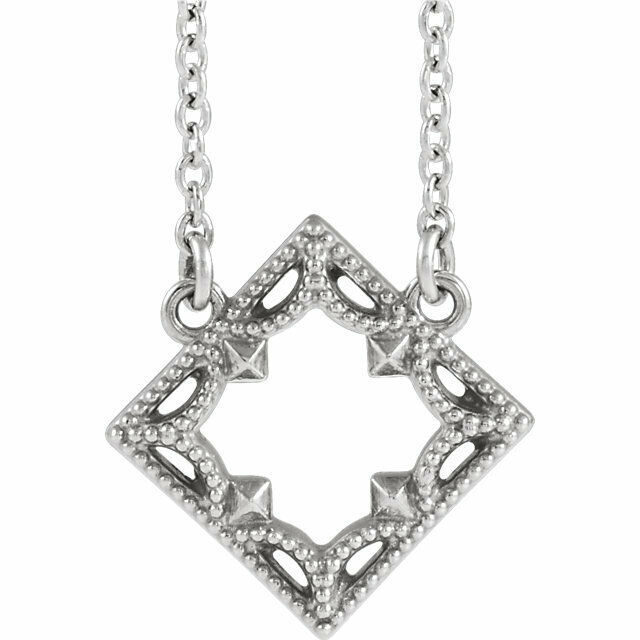 Vintage-Inspired Geometric Necklace In Sterling Silver