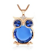 12 Colors Trendy Owl Necklace Fashion Rhinestone Crystal Jewelry Statement - $14.99