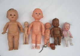 Old Creepy Doll 7 Piece Misc Lot Plastic Rubber Collector Repair Box Tod... - $34.64