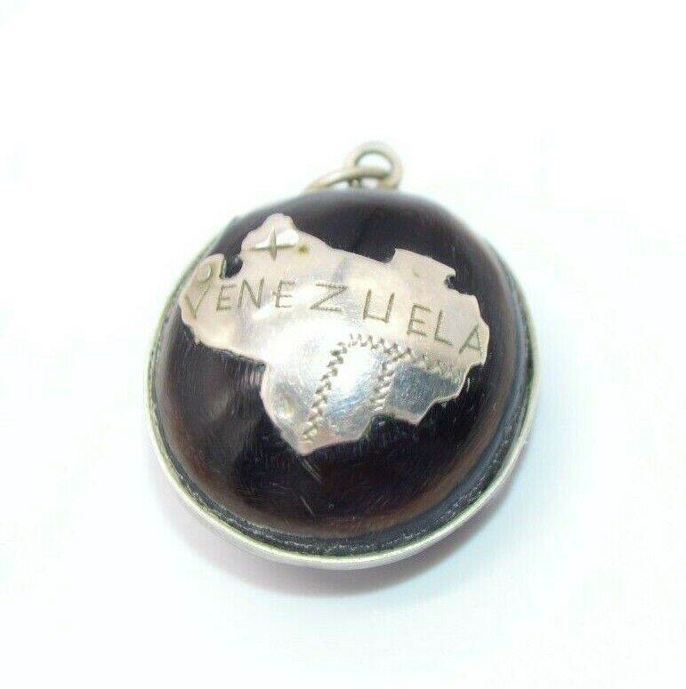Primary image for Venezuela Nut .925 Sterling Silver Country Vintage Necklace Pendant