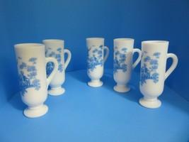 Set of (5) Vintage White MILK GLASS Pedestal Cups w/Blue TOILE Victorian... - $29.75