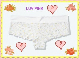 M L XL White Ditsy Floral Lace PINK Soft Waist Victorias Secret Cheekste... - $10.99