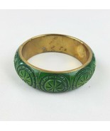Vintage green bone brass bangle bracelet inlaid - $28.76