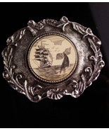 Vintage pirate Buckle / whale fish / Sailing Ship / Nautical gift / Men'... - $65.00