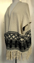 AMERICAN RAG Oversized Open Front Sweater Vest Southwest Print Fringed FLAW Sz M image 2
