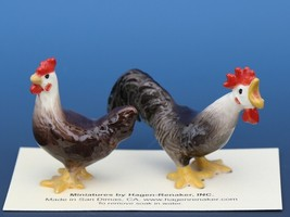 Hagen Renaker Miniature Chicken Leghorn Black Rooster & Brown Hen Set image 1