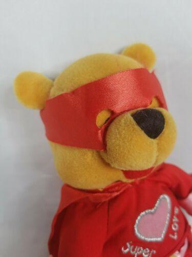 "Disney Store POOH Super Lover Love Valentine Plush Stuffed Bear 8"""