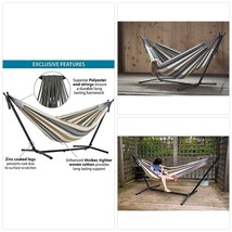 Vivere Double Hammock with Space Saving Steel Stand, Desert Moon - $149.98