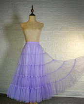 Blue Glitter Maxi Tulle Skirt Outfit Tiered Sparkle Tulle Skirt A-line Plus Size image 8