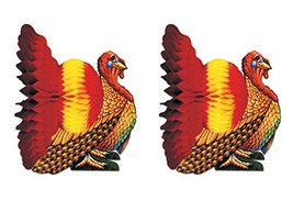 "Beistle S99066AZ2 Tissue Turkey Centerpieces 12"", Pack of 2 - $13.36"