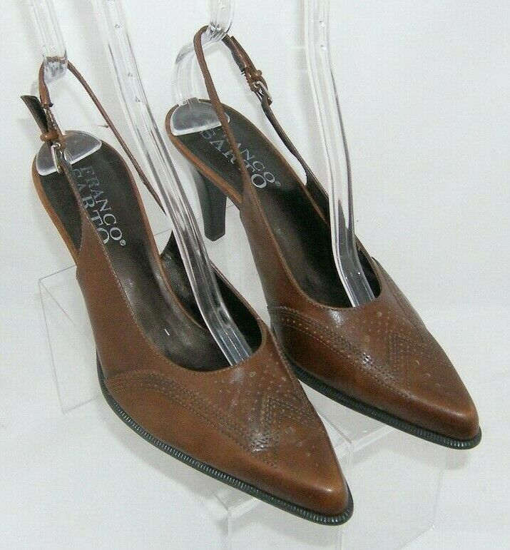 Franco Sarto brown leather pointed oxford brogue buckle slingback heels 7.5M image 7