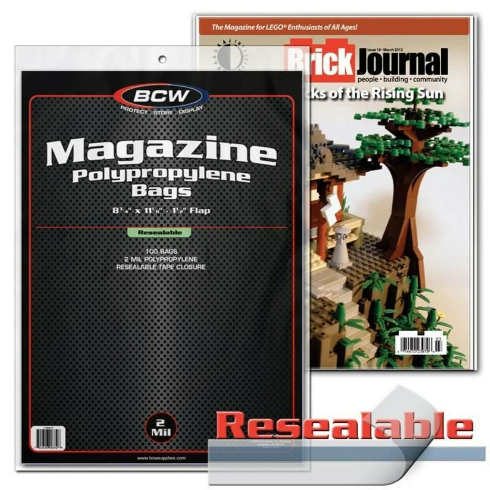 Primary image for 100 BCW Resealable Magazine Bags Archival Protective Sleeves 8 3/4 x 11 1/8 New