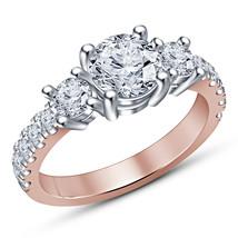 1.27 Ct Brilliant Split Shank Halo Lab Engagement Ring 14K Solid Rose Go... - $63.99