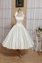 1905's Vintage White Halter Satin Tea Length Wedding Dress With Bow image 4