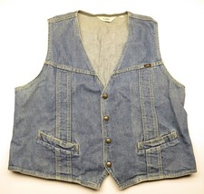 Vintage LEE Blue Denim Button Up Vest Men's Adult Sized Made in USA Dist... - $31.64