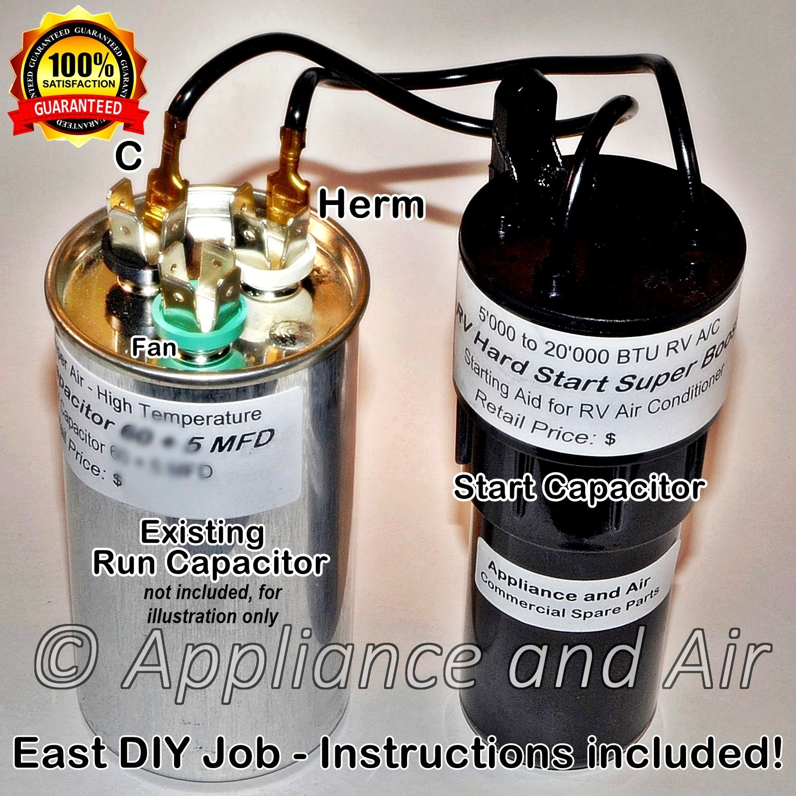 Dometic 3310727.007 RV Air Conditioner Hard Start Capacitor & Relay Kit