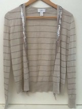 Ann Taylor LOFT Womens Gray Silver Sequin Accent Open Front Cardigan Swe... - $14.95