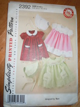 Simplicity Babies Dress Bonnet With Embroidery Size XS-L  #2392 Uncut   - $5.99